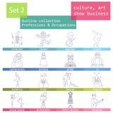 Profissões e grupo do ícone do esboço das ocupações Cultura, arte, mostra Fotografia de Stock Royalty Free