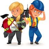 Profissões não fêmeas, construtores pesados construtor das profissões da mulher forte, trabalhador no uniforme com machado do cap ilustração do vetor