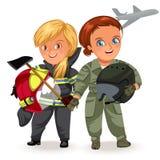 Profissões não fêmeas, piloto forte da mulher e construtor do construtor no uniforme com o capacete militar em seus braços, duram ilustração royalty free