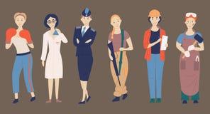Profissões não fêmeas Seth de desafiar profissões fêmeas, caráteres de desenhos animados cientista, polícia, soldado fotos de stock royalty free
