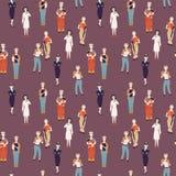 Profissões não fêmeas Teste padrão de desafiar profissões fêmeas, caráteres de desenhos animados cientista, polícia, soldado foto de stock royalty free