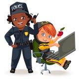 Profissões não fêmeas, uniforme forte do agente da polícia da mulher com manter o grupo de rádio e o hacker do programador que pr ilustração do vetor