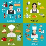 Profissões do cozinheiro, do padeiro, da empregada de mesa e do empregado de bar Imagens de Stock Royalty Free