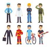 Profissões do homem dos desenhos animados Imagem de Stock