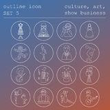 Profissões e grupo do ícone do esboço das ocupações Cultura, arte, mostra Imagens de Stock Royalty Free