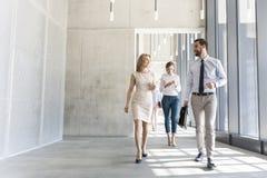 Profissionais do negócio que falam ao andar no corredor do escritório fotografia de stock royalty free