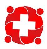Profissionais médicos vermelhos que encontram junto o logotipo do ícone ilustração do vetor