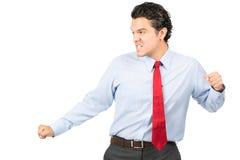 Profissional latino-americano do negócio da pose das artes marciais imagens de stock royalty free