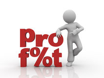 Profit. Word profit and character which standing by it Royalty Free Stock Image
