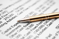 Profit. Closeup of fountain pen  on financial report Royalty Free Stock Images