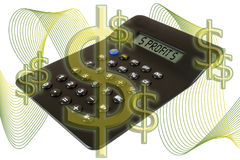 Profit. Concept. Calculator and dollar signs Royalty Free Stock Image
