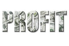 Profit. Word superimposed on one hundred dollar bill background over white vector illustration