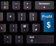 Profit. Keyboard with blue button, spelling profit Royalty Free Stock Images