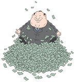 Profit. Fat businessman sitting on a big pile of money Stock Images