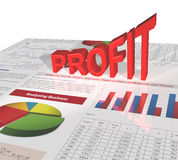 Profit - 3D single word. Profit, 3D single word, standing on the analyzing business report Stock Image