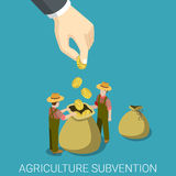 Profit agriculture business farming flat  isometric 3d. Agriculture subvention farming business government isometry concept flat 3d isometric web infographics Stock Images