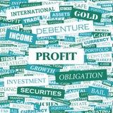PROFIT. Background concept wordcloud illustration. Print concept word cloud. Graphic collage Stock Photos