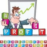Profit blocks cartoon Royalty Free Stock Photo