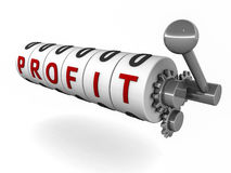 Profit break even. Profit on a slot machine dial, showing risk in arriving at profit and element of gamble in business when risk becomes high Stock Photo