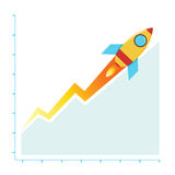 Profit Business Sales Chart Climbing With Rocket, Success. Vectors stock of growth business chart with rocket, success business concept Royalty Free Stock Photo