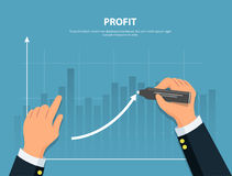 Profit. Businessman draws graph of financial growth. Concept financial investments and revenue increase. Vector illustration in flat style Stock Photography