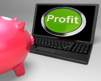 Profit Button On Laptop Shows Financial Growth. Or Trading Stock Photo
