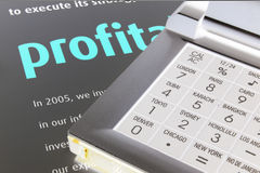 Profit with  calculator. Profit with calculator Royalty Free Stock Images