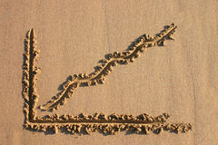 A profit chart drawn in sand. A profit chart drawn on a sandy beach Royalty Free Stock Images