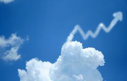 Profit Cloud. This cloud with an arrow going up symbolizes profit sits to the right of the frame leaving room for any text that may be inserted Stock Image
