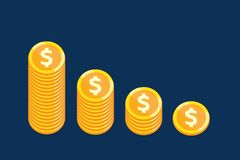 Profit coin down concept vector design for business. Profit coin down concept vector design for business finance Stock Photo