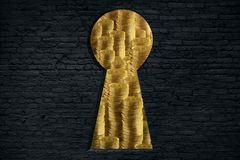 Profit concept. Abstract black brick wall with keyhole opening and golden coin stacks view. Profit concept. 3D Rendering Royalty Free Stock Images