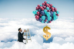 Profit concept. Abstract image of businessman on top of ladder in the sky looking at balloons with dollar sign. Profit concept. 3D Rendering Royalty Free Stock Image