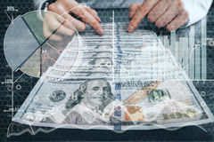 Profit concept. Abstract image of businessperson counting dollar banknotes on forex background. Double exposure. Profit concept Stock Photo