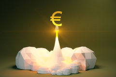 Profit concept with blasts off euro sign from cosmodrom, polygon Stock Images