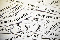 Profit. Concept of cutout words related with business. Stock Photos