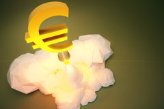 Profit concept  with euro sign takes off from Baikonur, polygonal Stock Photography
