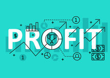 Profit concept flat line design with icons and elements. Modern profit concept s collection. Profit concept lettering. Profit concept flat line design with icons Stock Photo