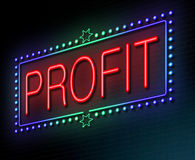Profit concept. Illustration depicting an illuminated neon sign with a profit concept Royalty Free Stock Photos