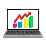 Profit concept, red arrow shows business growth chart on laptop screen Stock Image