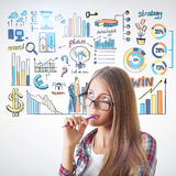 Profit concept. Thoughtful young woman with creative business sketch. Profit concept Stock Photo