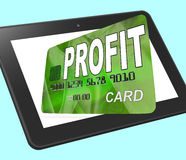 Profit on Credit Debit Card Calculated Shows Earn Money Royalty Free Stock Photo