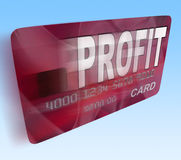 Profit on Credit Debit Card Flying Shows Earn Money Royalty Free Stock Photography