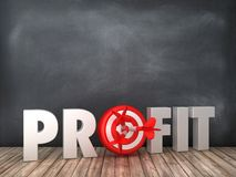 PROFIT 3D Word with Target on Chalkboard Background. High Quality 3D Rendering royalty free illustration