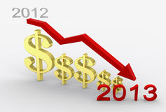 Profit Decline2013 Royalty Free Stock Photography