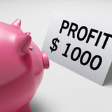 Profit Dollars Shows Revenue Earnings Piggy Savings Royalty Free Stock Image