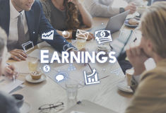 Profit Earnings Income Financial Economy Proceeds Concept. People Discuss Profit Earnings Income Financial Economy Proceeds Stock Photos
