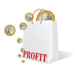 Profit with euro coin color vector Royalty Free Stock Images