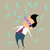 Profit Finance businessman money happy. Office worker businessman happy standing in the midst of falling money stock illustration