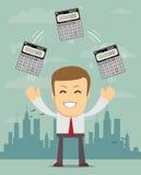 Profit, finances concept. Businessman or manager juggling a calculators in his hands. Profit, finances concept. Vector, flat, illustration Stock Images
