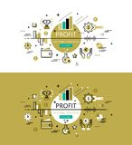 Profit. Flat line color hero images and hero banners design conc. Set of modern  illustration concepts of business profit. Line flat design hero banners for Stock Photos